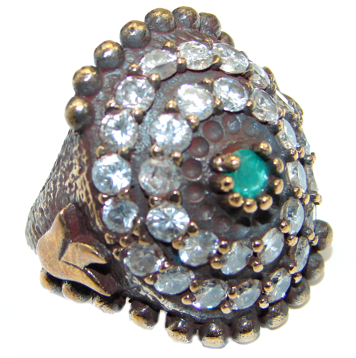 Victorian Style created Emerald & White Topaz Sterling Silver Ring s. 6 1/2