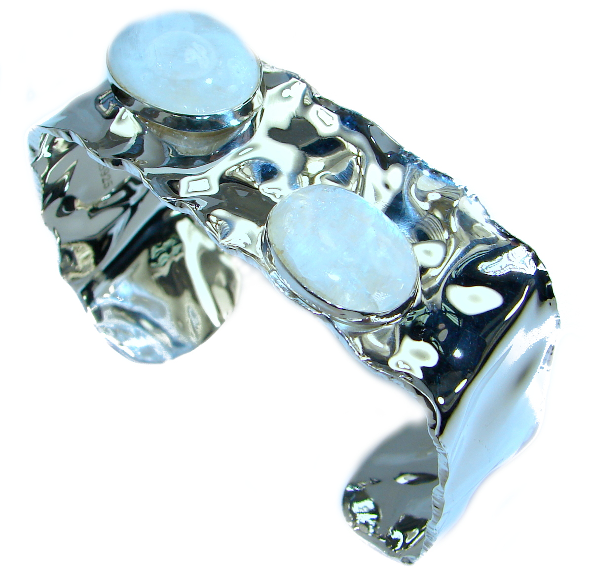 Real Treasure Fire Moonstone hammered .925 Sterling Silver Bracelet / Cuff