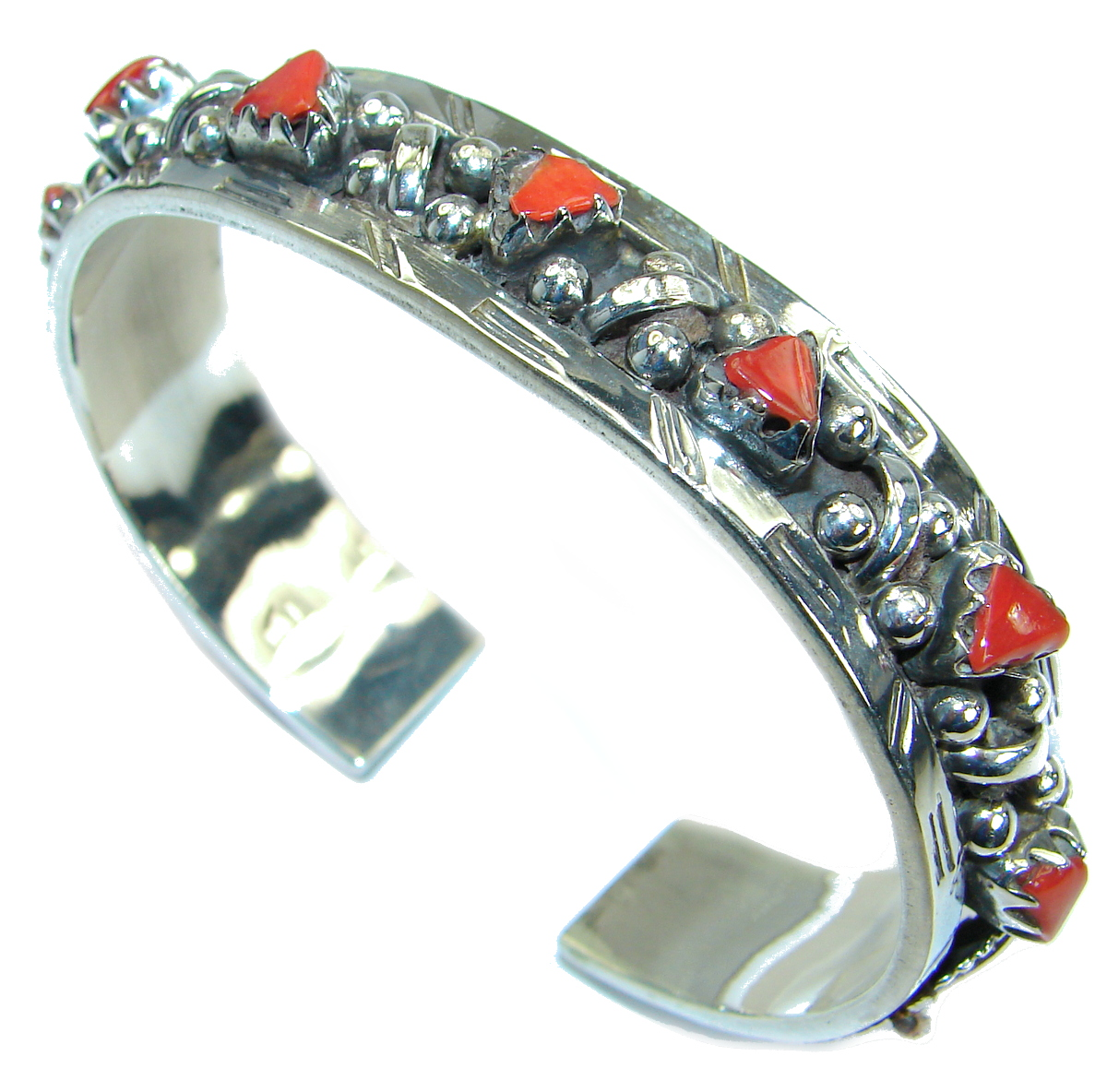 Jumbo Boho Chic  Genuine  Coral  .925 Sterling Silver handmade Bracelet / Cuff