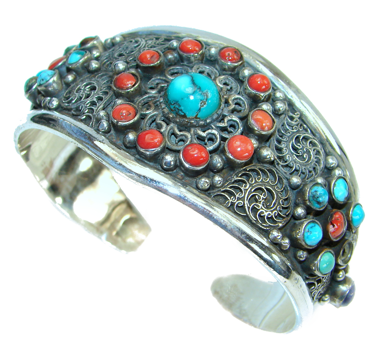 Jumbo Boho Chic  Genuine  Turquoise Coral .925 Sterling Silver handmade Bracelet / Cuff