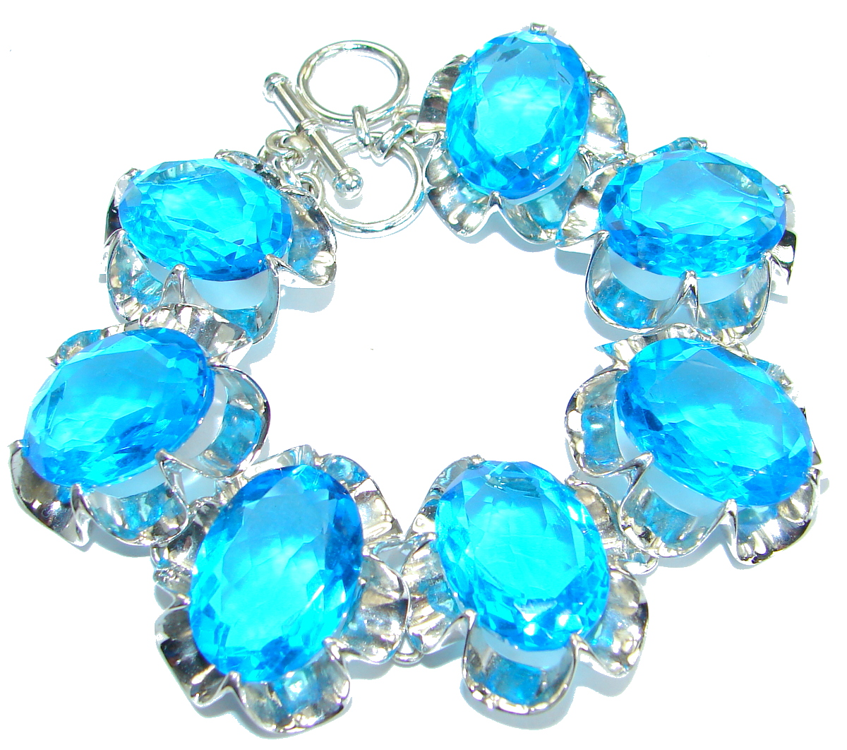 Huge Rich Blue Ocean Quartz .925 Sterling Silver handmade Bracelet