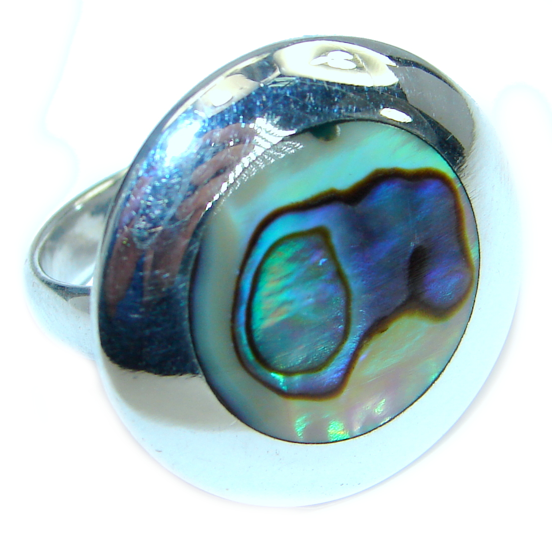 Authentic Rainbow Abalone  Sterling Silver handmade Ring s. 5 1/2