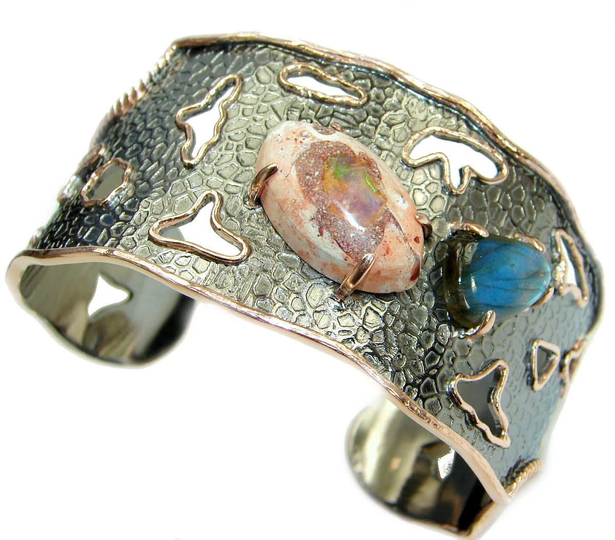 Real Treasure Mexican Opal 14K Gold Rhodium over .925 Sterling Silver handcrafted Bracelet / Cuff