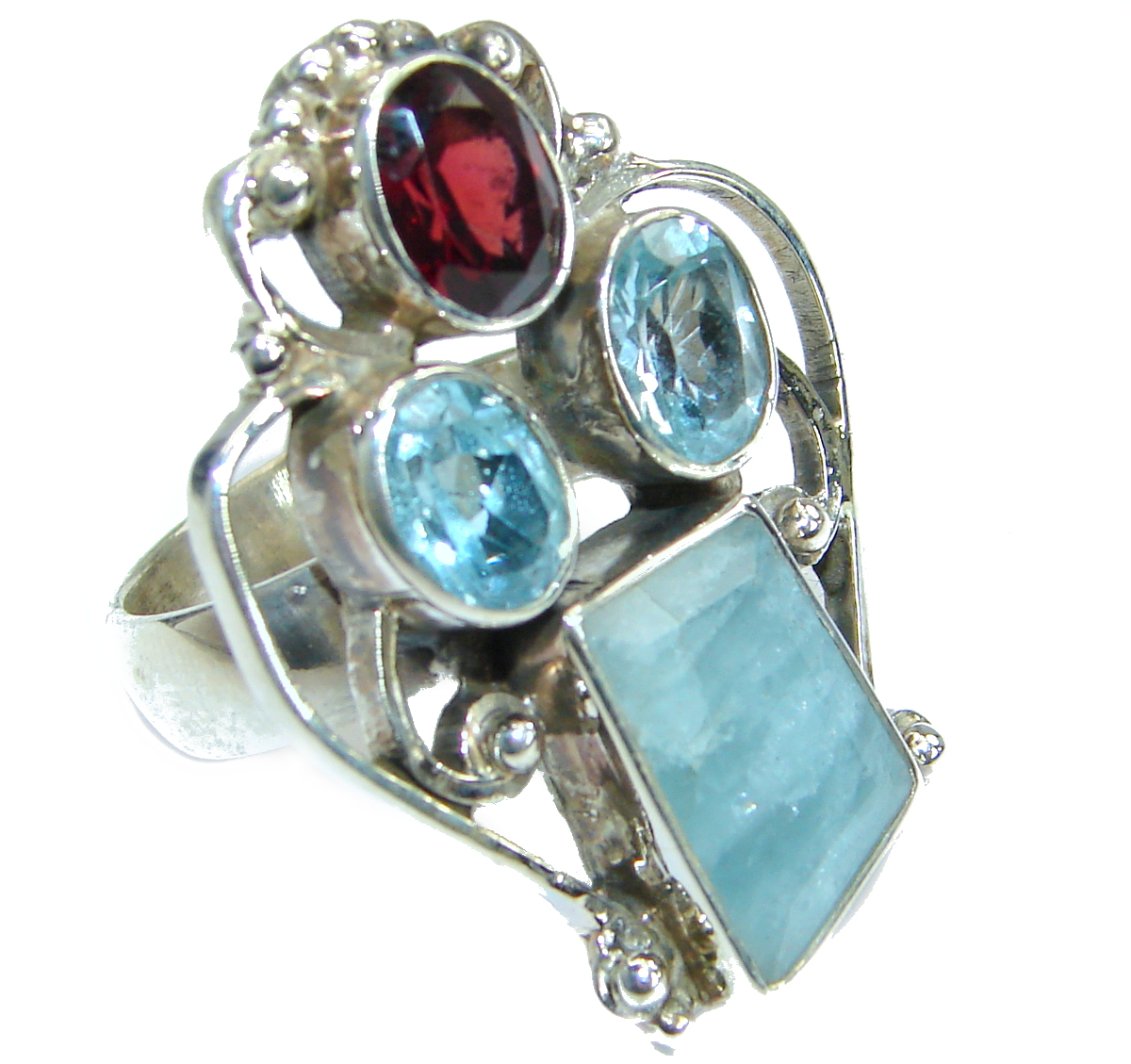 Passiom Fruit Natural Aquamarine .925 Sterling Silver Ring s. 6 1/2 129575