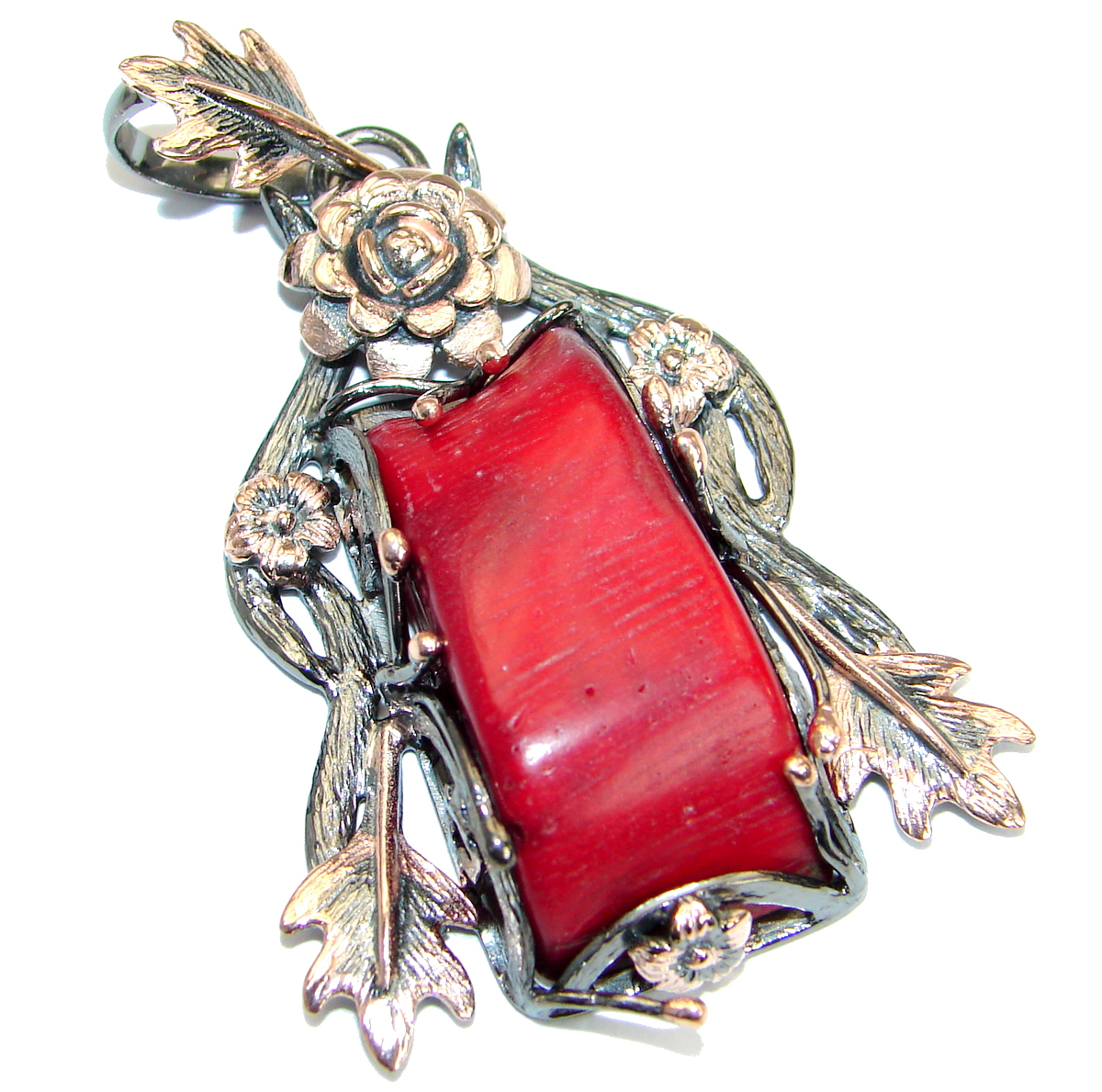 Huge Authentic Red Fossilized Coral Gold Rhodium over .925 Coral Sterling Si..