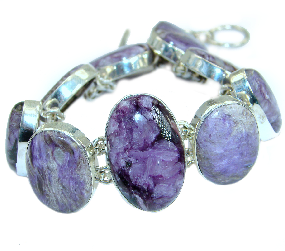 Natural Siberian Charoite .925 Sterling Silver handcrafted Bracelet