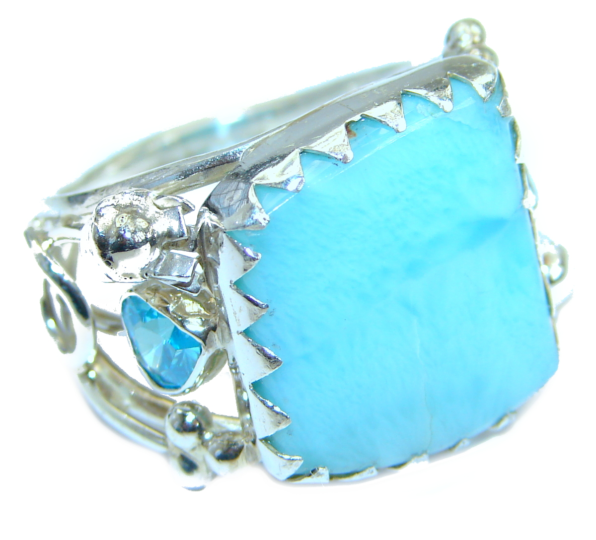 Genuine Larimar   .925 Sterling Silver handcrafted ring size 8 1/4