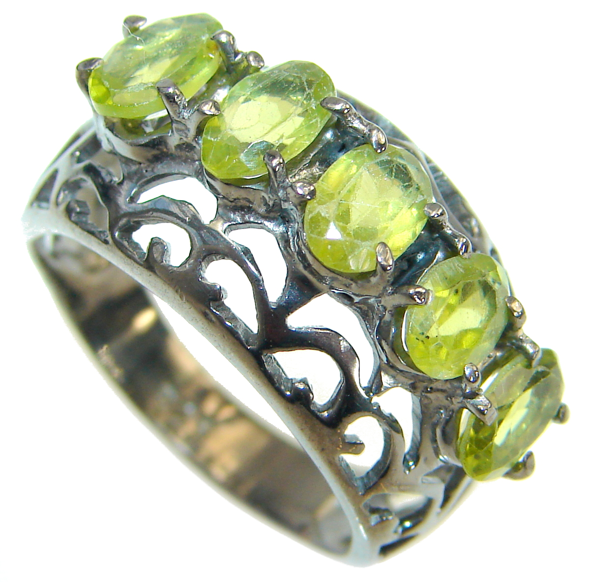 Energazing  Peridot  Rhodium over  .925 Sterling Silver Ring size  6 1/4