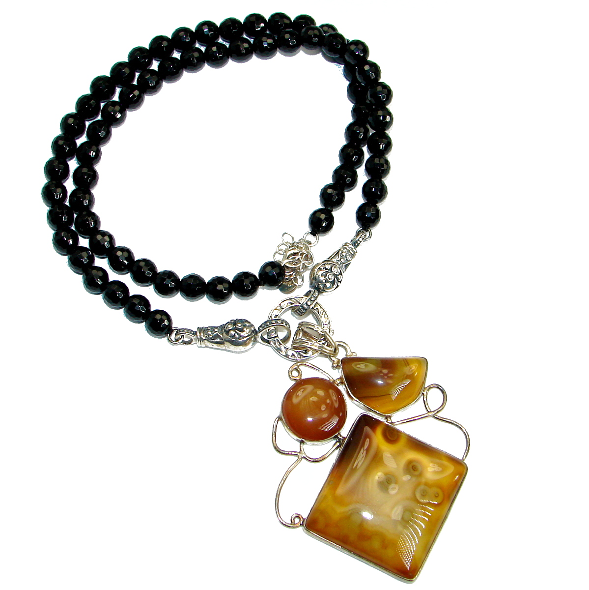 Fine Art Aura Of Beauty Natural Botswana Agate .925 Sterling Silver handmade..
