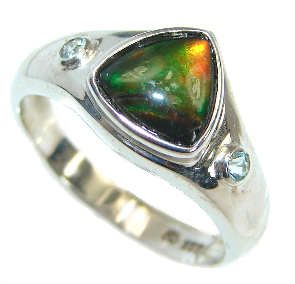 Pure Energy Fire Genuine Canadian Ammolite  .925 Sterling Silver handmade  r..