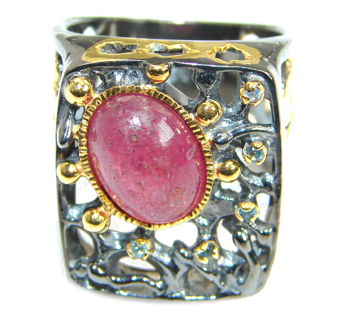 Large Authentic Ruby  14K Gold Rhodium over .925 Sterling Silver ring; s. 8