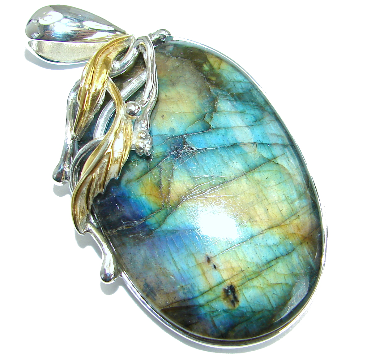 Bold genuine Fire Labradorite 18K Gold over .925 Sterling Silver handmade Pendant