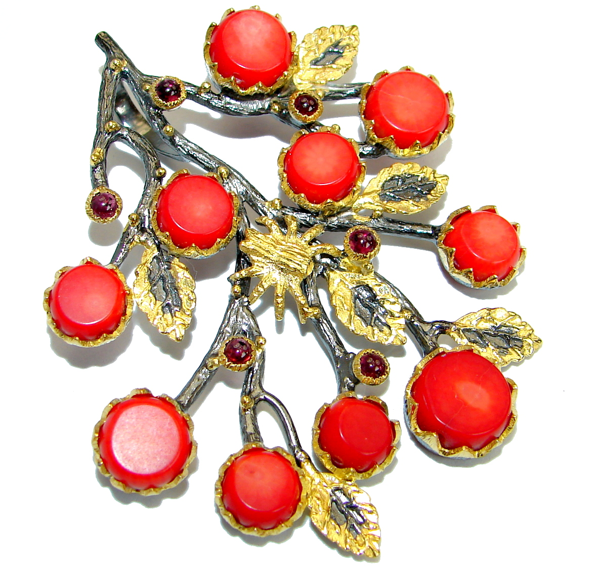 Huge Authentic Red Fossilized Coral 14 K Gold Rhodium over .925 Coral Sterli..