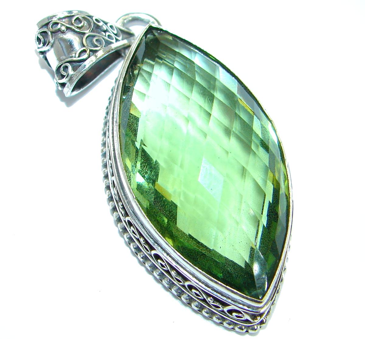 Large Vintage Style Emerald color Quartz .925 Sterling Silver Pendant