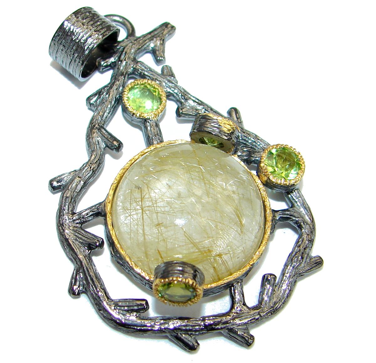 Himalayan Treasure Golden Rutilated Quartz 14K Gold Rhodium over .925   Sterling Silver Pendant