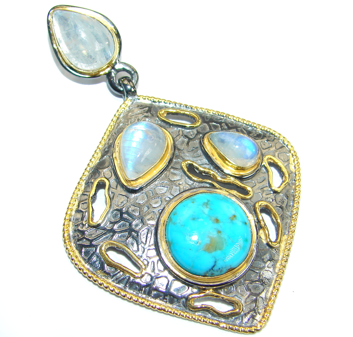 Blue Turquoise Moonstone 18K Gold Rhodium over .925 Sterling Silver Pendant