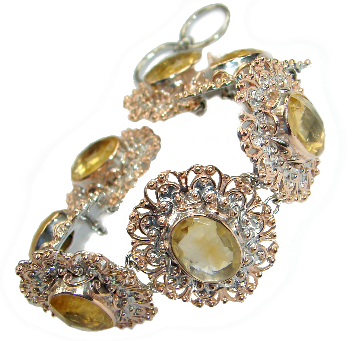 Stunning genuine Citrine 14K gold over .925 Sterling Silver handmade Bracelet