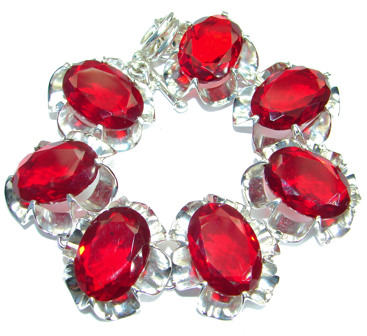 Huge Rich Red Fruit Quartz .925 Sterling Silver handmade Bracelet