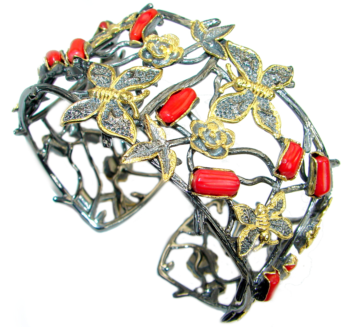 Genuine Fossilzed Coral Gold Rhodium over .925 Sterling Silver handcrafted Bracelet / Cuff