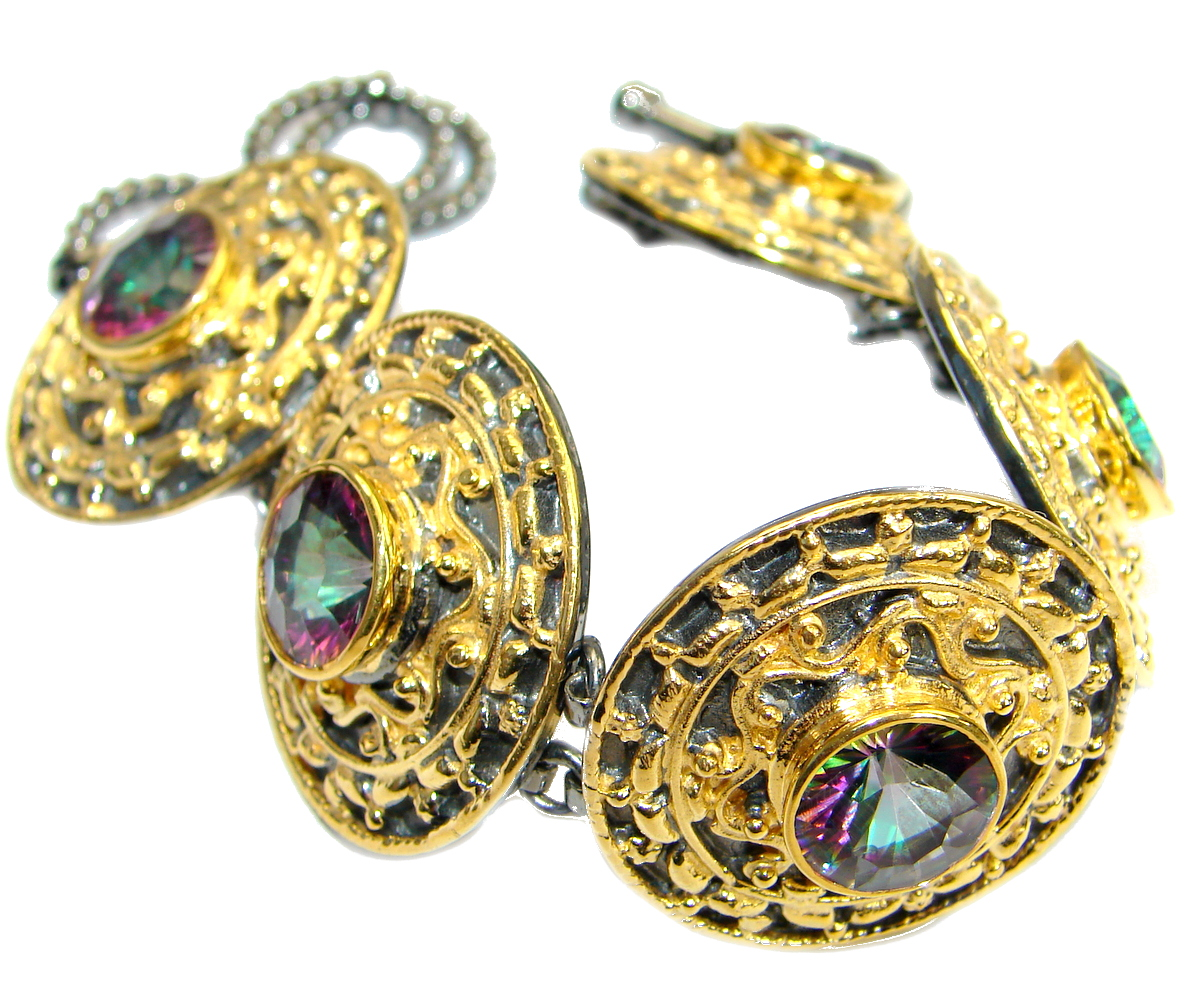 Huge Baroque Style Magic Topaz 14K Gold over .925 Sterling Silver handcrafted Bracelet / Cuff