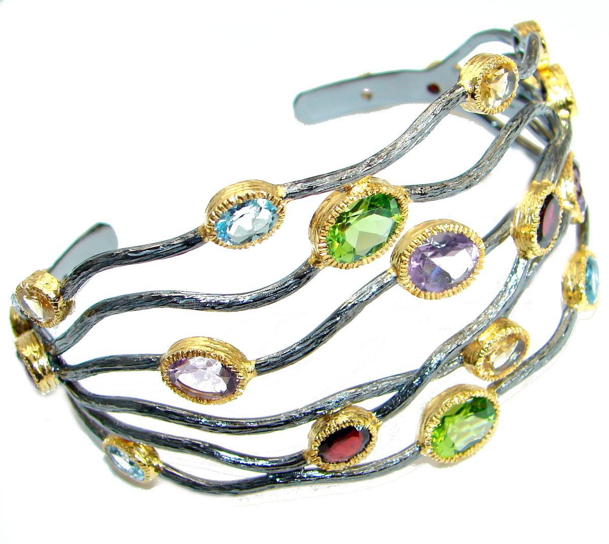 Huge One of the kind genuine Multigem Rose Gold over .925 Sterling Silver Bracelet / Cuff