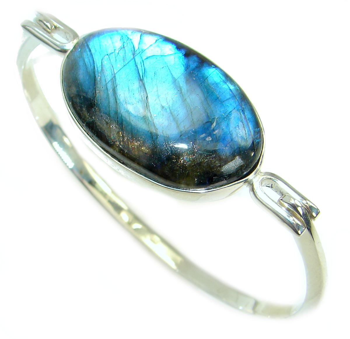 Beautiful Modern Shimmering Labradorite .925 Sterling Silver Bracelet / Cuff
