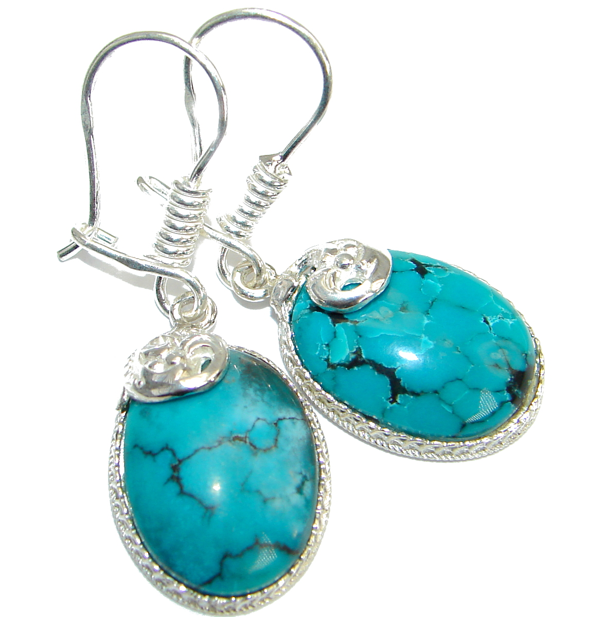 Genuine Beauty Turquoise .925 Sterling Silver handmade earrings