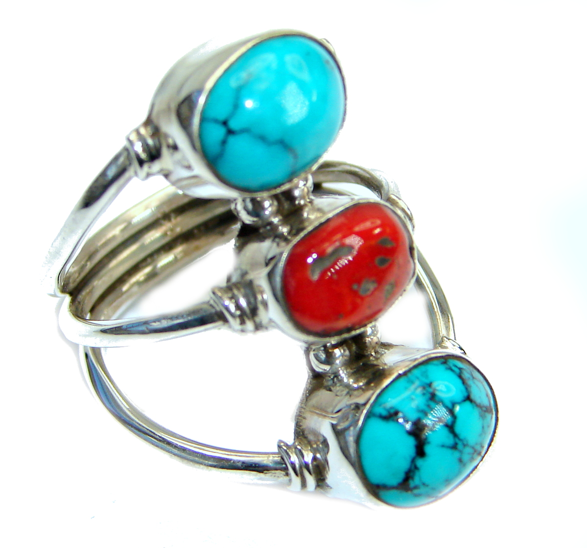 Huge Genuine  Turquoise Coral  .925 Sterling Silver ring; s. 7