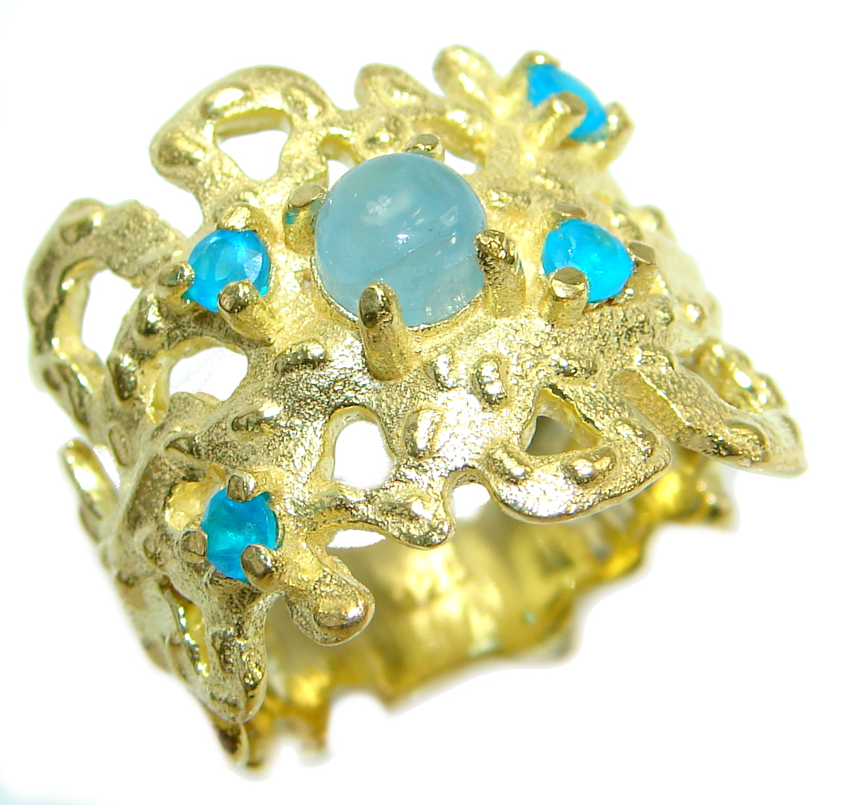 Passiom Fruit Natural  Aquamarine 14K Gold  over .925 Sterling Silver Ring s..