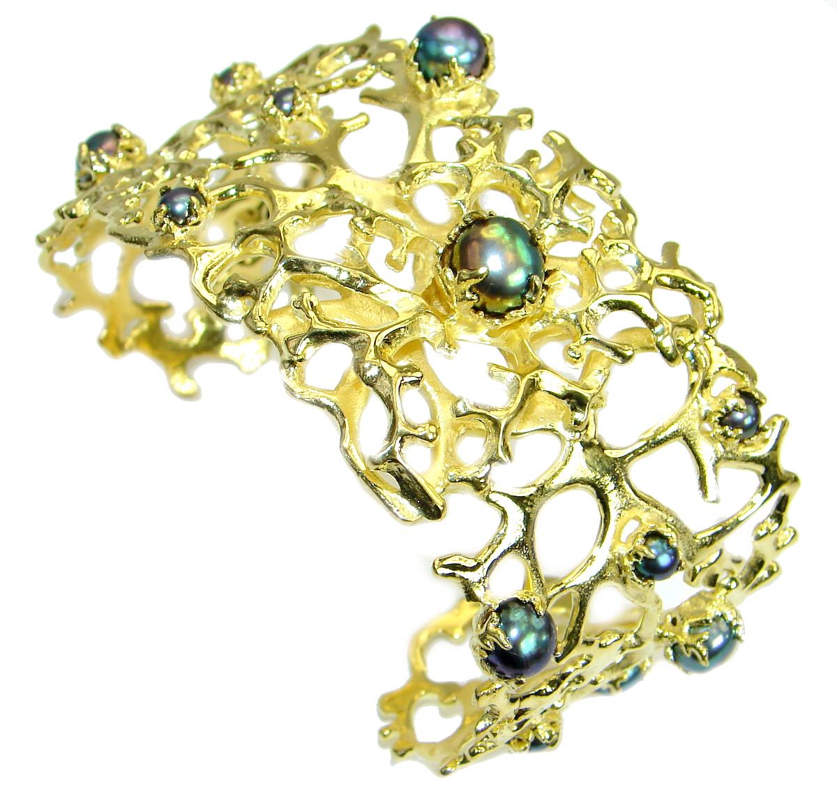 Big Dreamer Fresh Water Black Pearl 14K Gold over .925 Sterling Silver Bracelet / Cuff