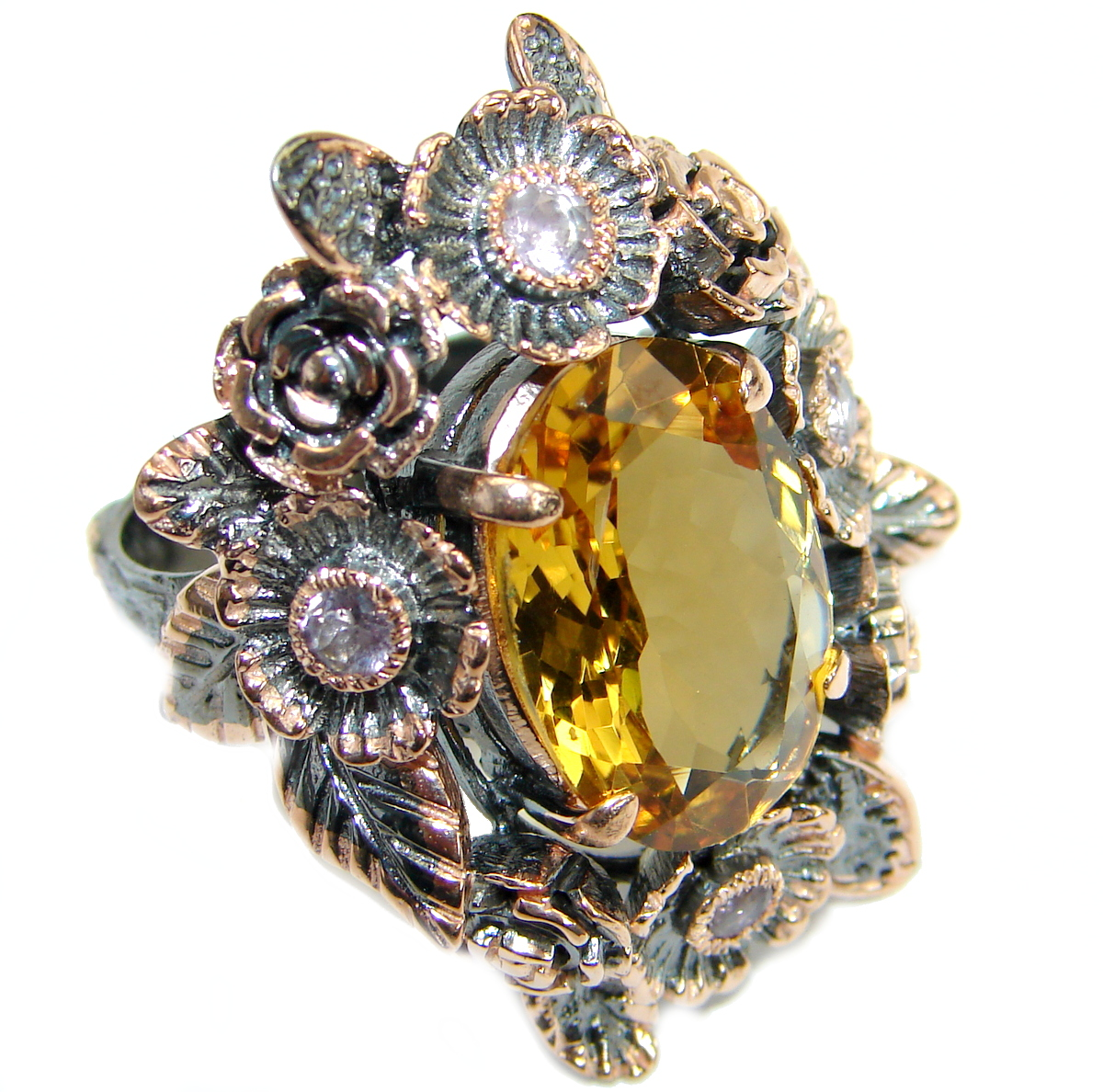 Vintage  Style 45 CT Citrine  .925 Sterling Silver handmade Cocktail Ring s...
