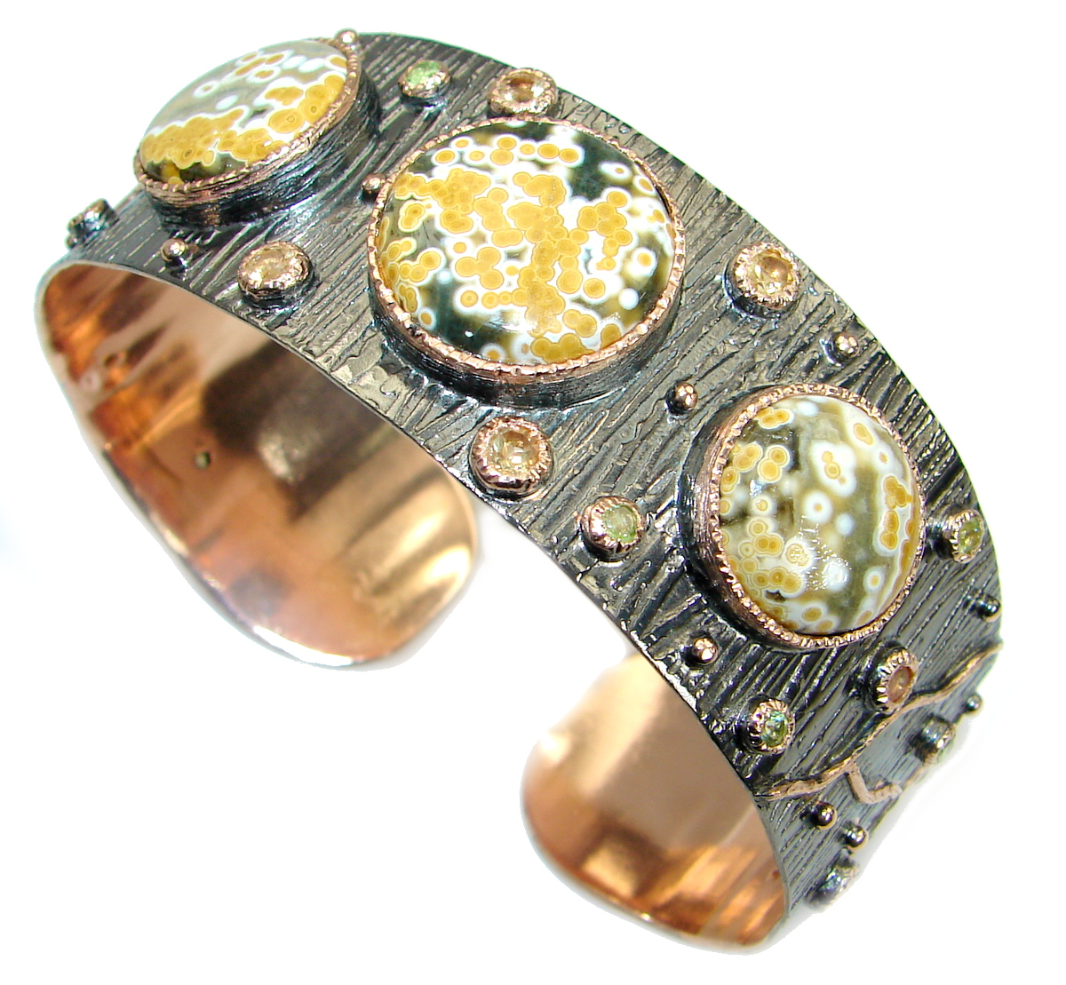 Authentic Ocean Jasper 14K Gold Rhodium over .925 Sterling Silver handcrafted Bracelet / Cuff
