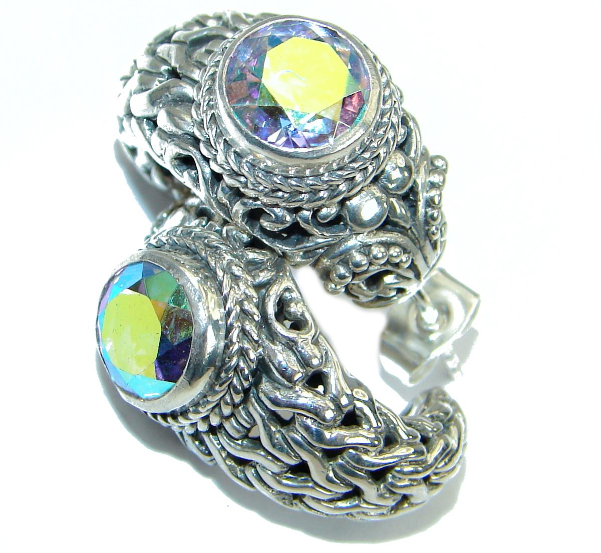 Bali Design White Opal Quartz .925 Sterling Silver handmade earrings