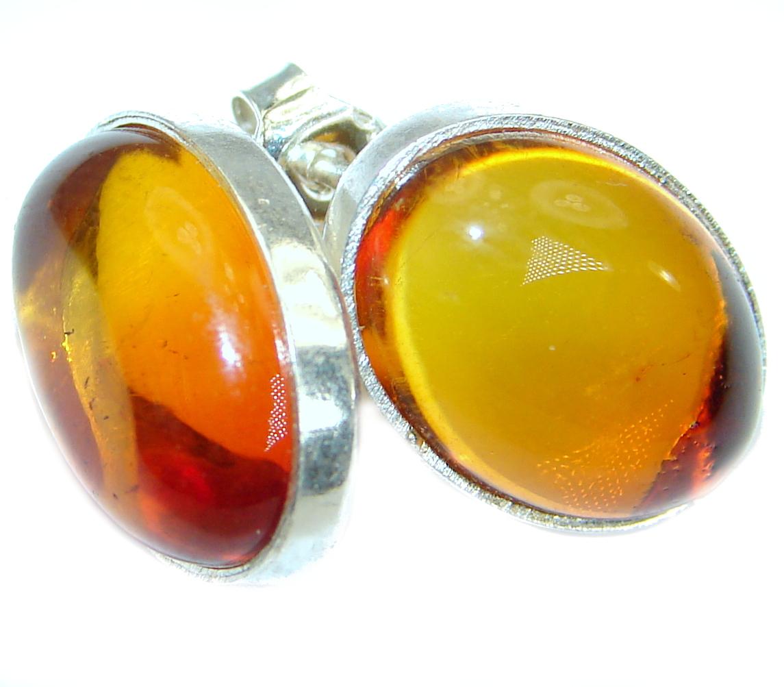 Genuine  Baltic Amber .925 Sterling Silver Earrings
