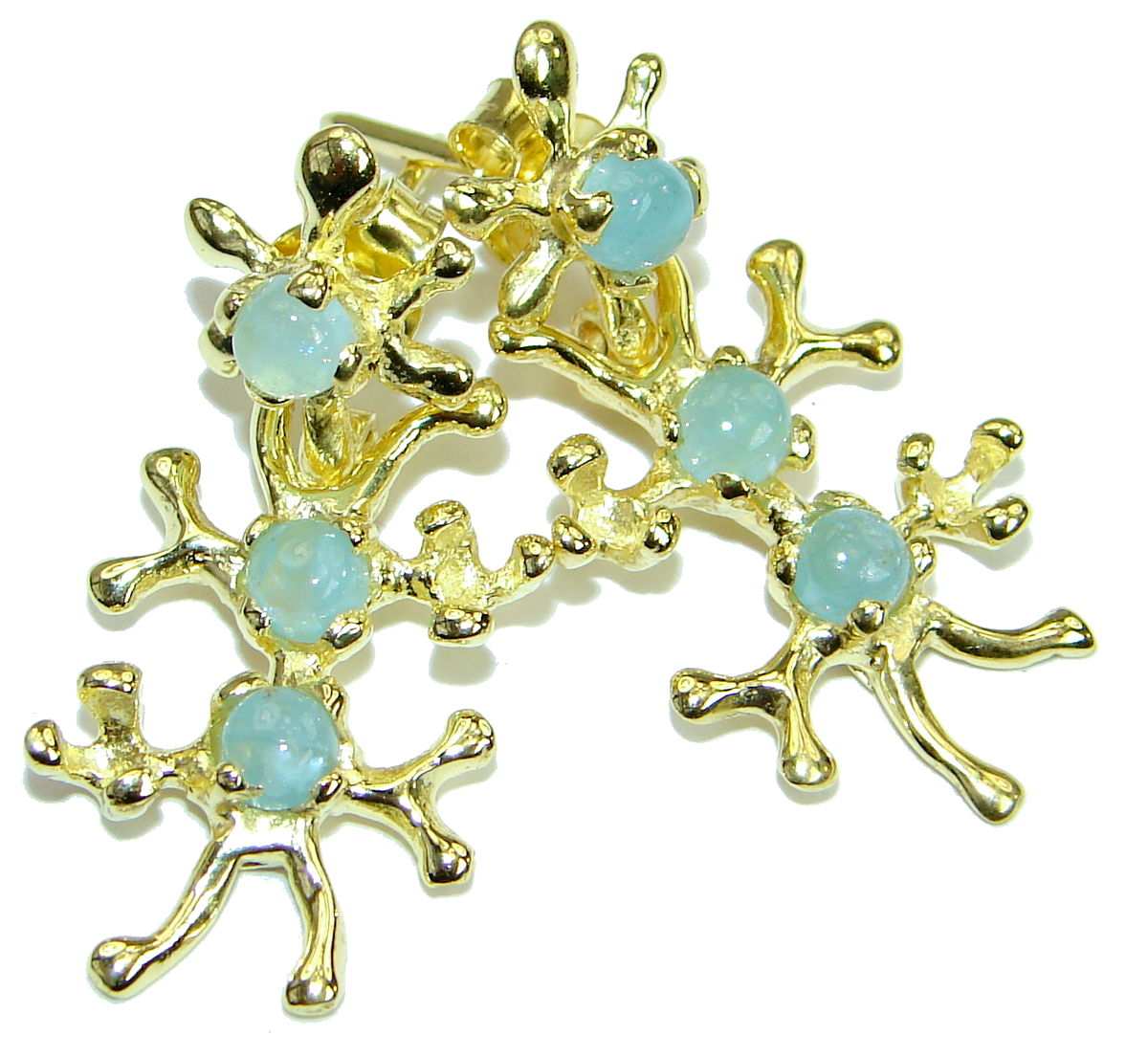 Ocean Wonder genuine Aquamarine 14K Gold  .925 Sterling Silver stud earrings