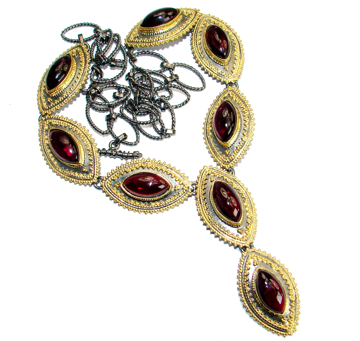 Vintage Design Genuine Garnet 14K Gold over .925 Sterling Silver handmade necklace