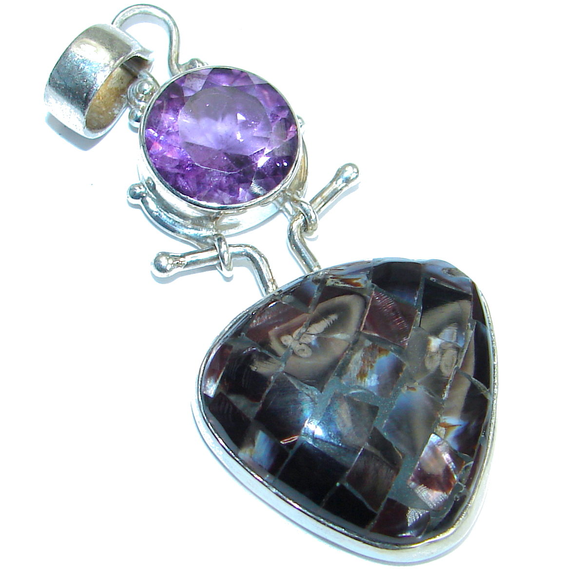 Classic Rainbow Abalone   .925 Sterling Silver Pendant