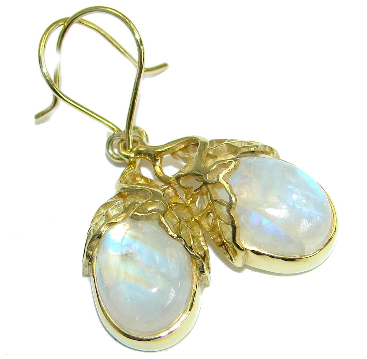 Stylish AAA+ Fire Moonstone 14K Gold over .925 Sterling Silver handmade earrings