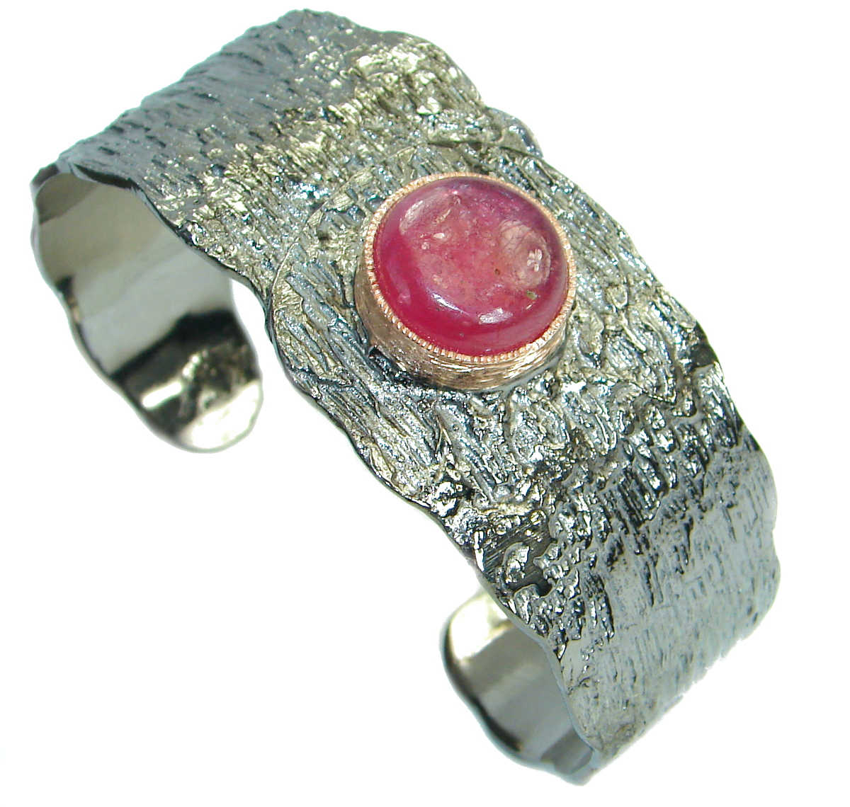 Incredible Genuine Ruby Rose Gold Rhodium over .925 Sterling Silver Bracelet / Cuff