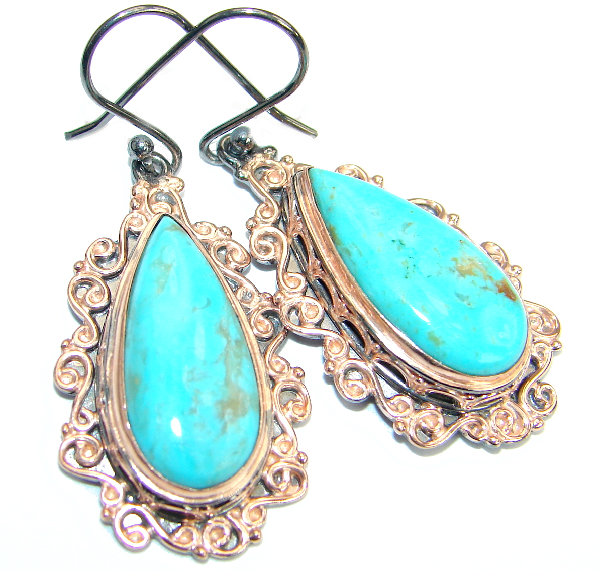 Genuine Beauty Turquoise Gold over .925 Sterling Silver handmade earrings