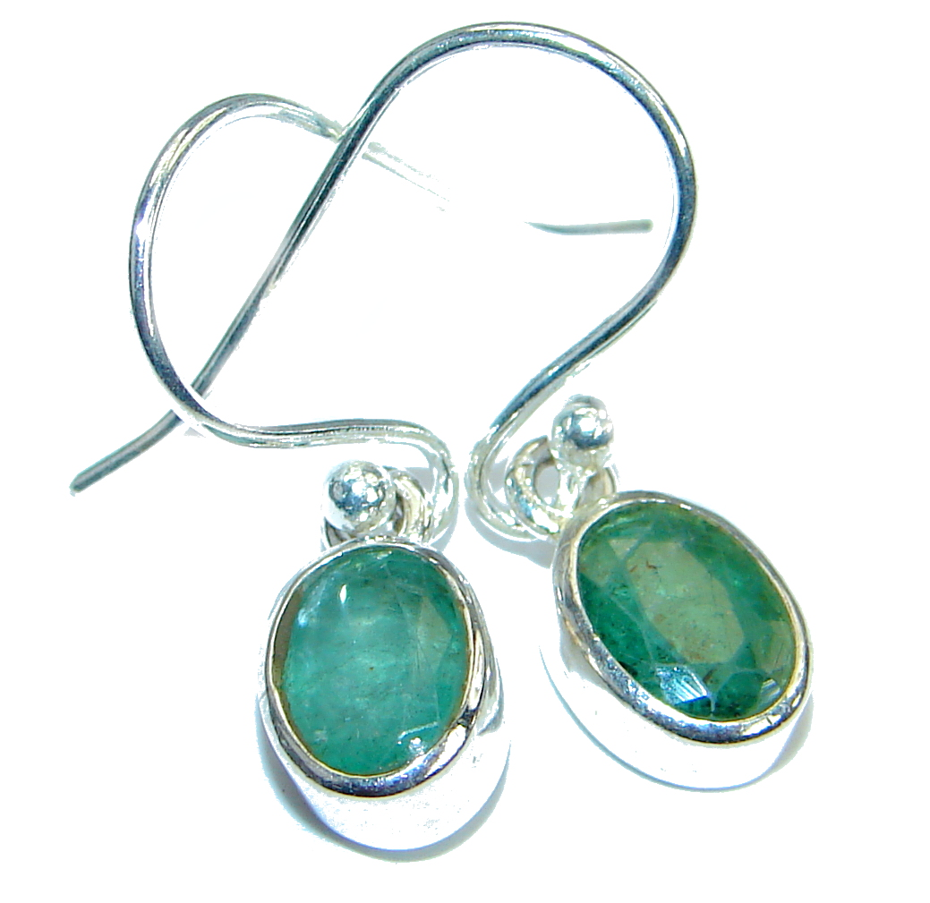 Authentic    Emerald .925 Sterling Silver handmade  earrings
