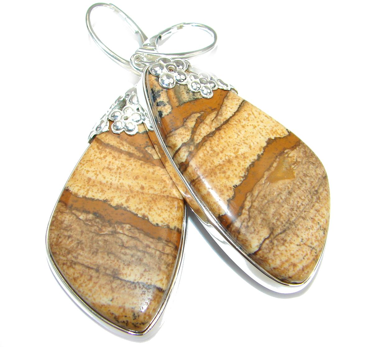 Huge Bohemian Style Picture Jasper .925 Sterling Silver earrings
