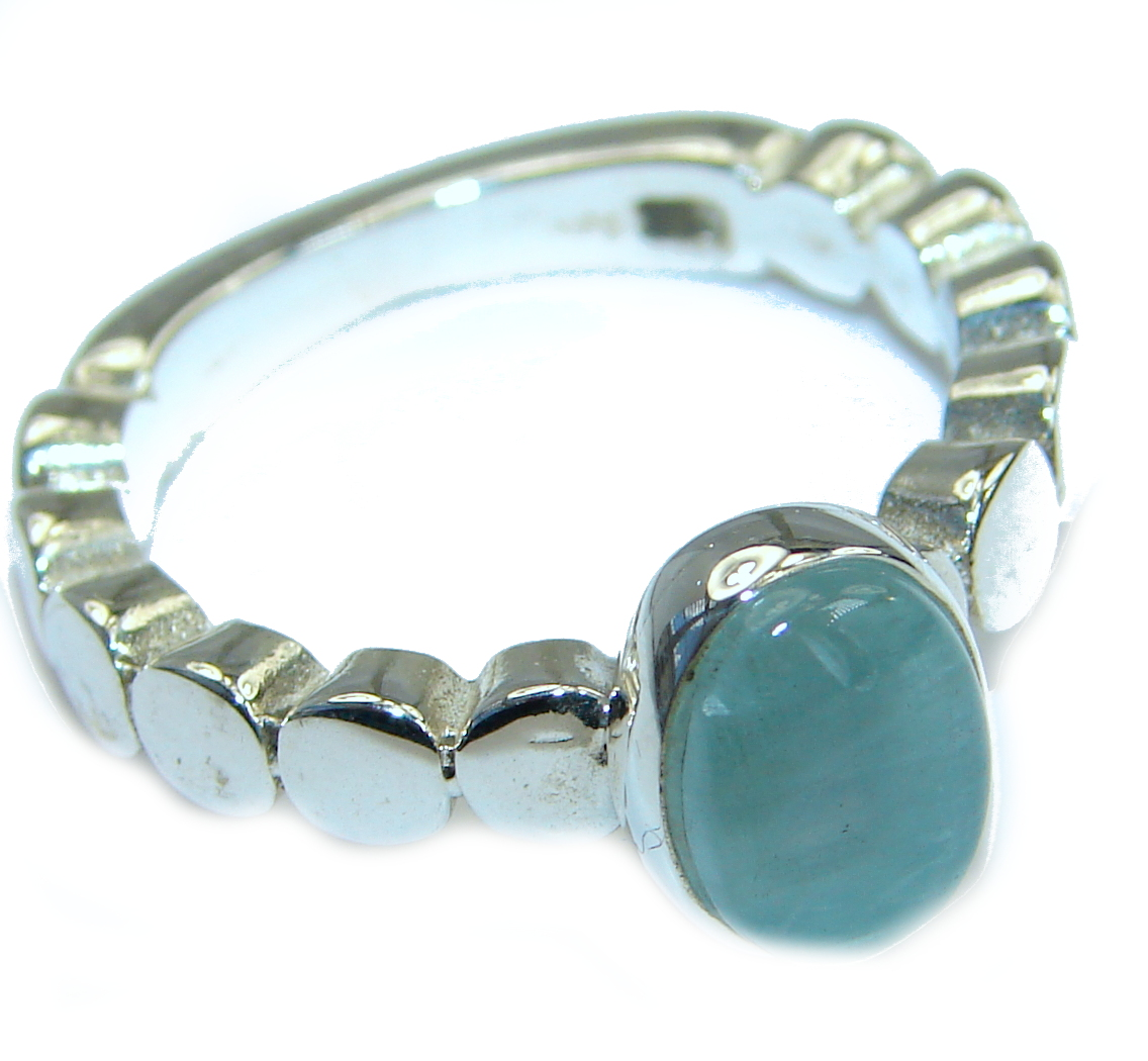 Passiom Fruit Natural Aquamarine Rhodium over Sterling Silver Ring s. 5 1/2