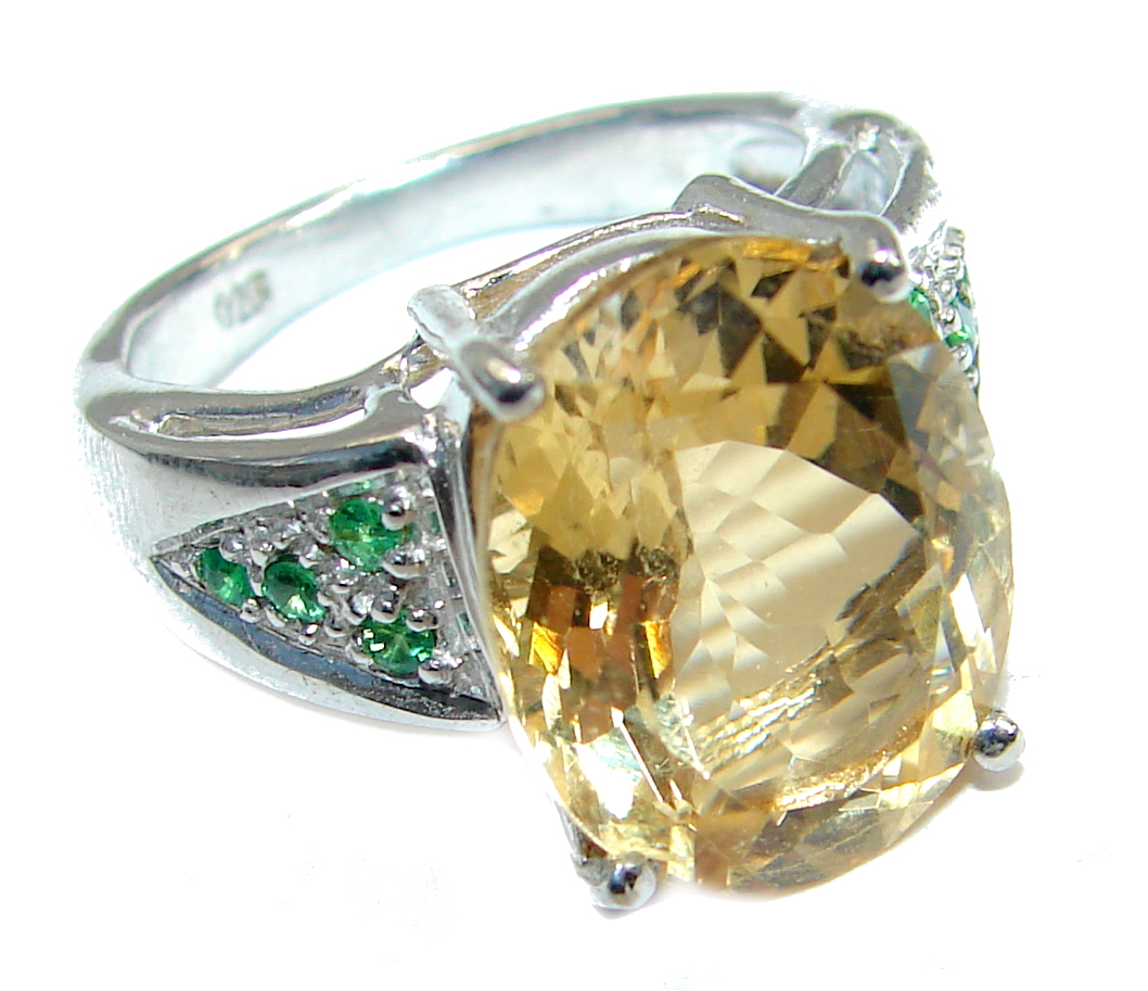 Natural 16.5 ct. Citrine  .925 Sterling Silver Ring s. 6 1/4