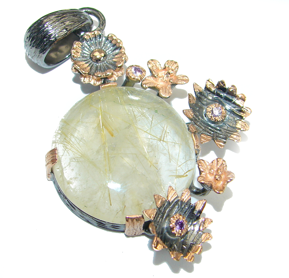 Royal Golden Rutilated Quartz .925  Sterling Silver handmade Pendant