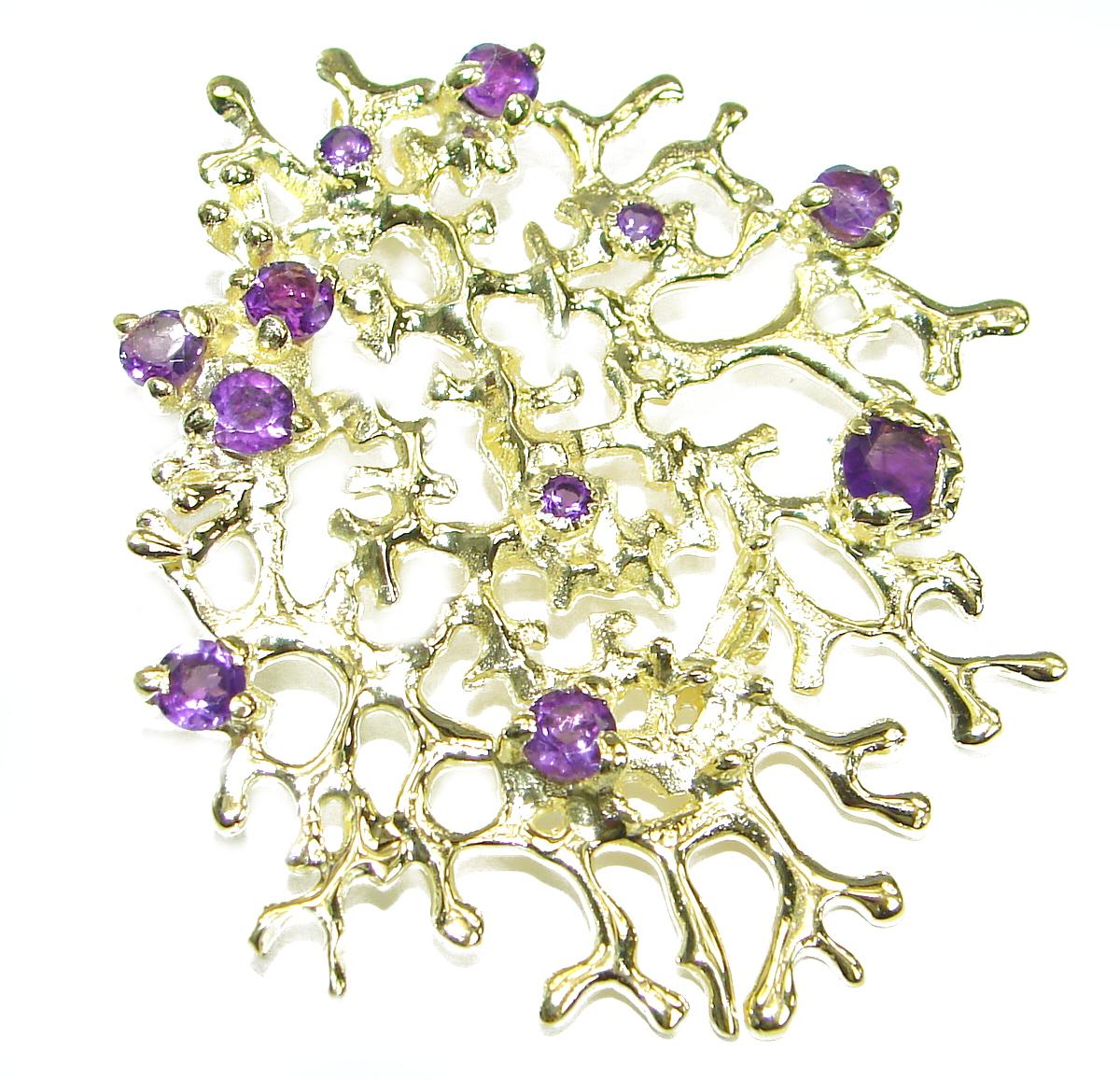 True Beauty Amethyst 14K Gold .925 Sterling Silver handcrafted  Pendant
