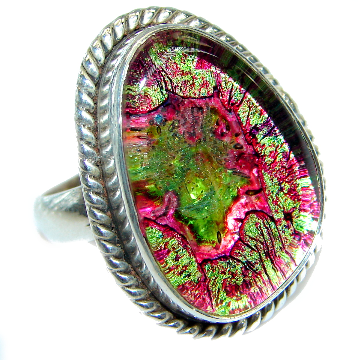 Dichroic Glass .925 Sterling Silver handmade ring size 9
