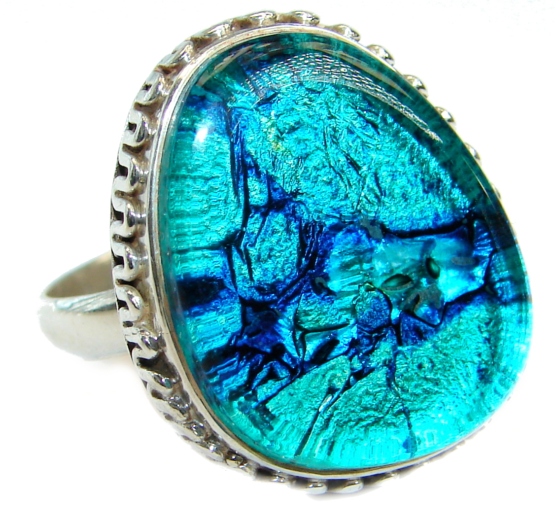Dichroic Glass .925 Sterling Silver handmade ring size 11 3/4
