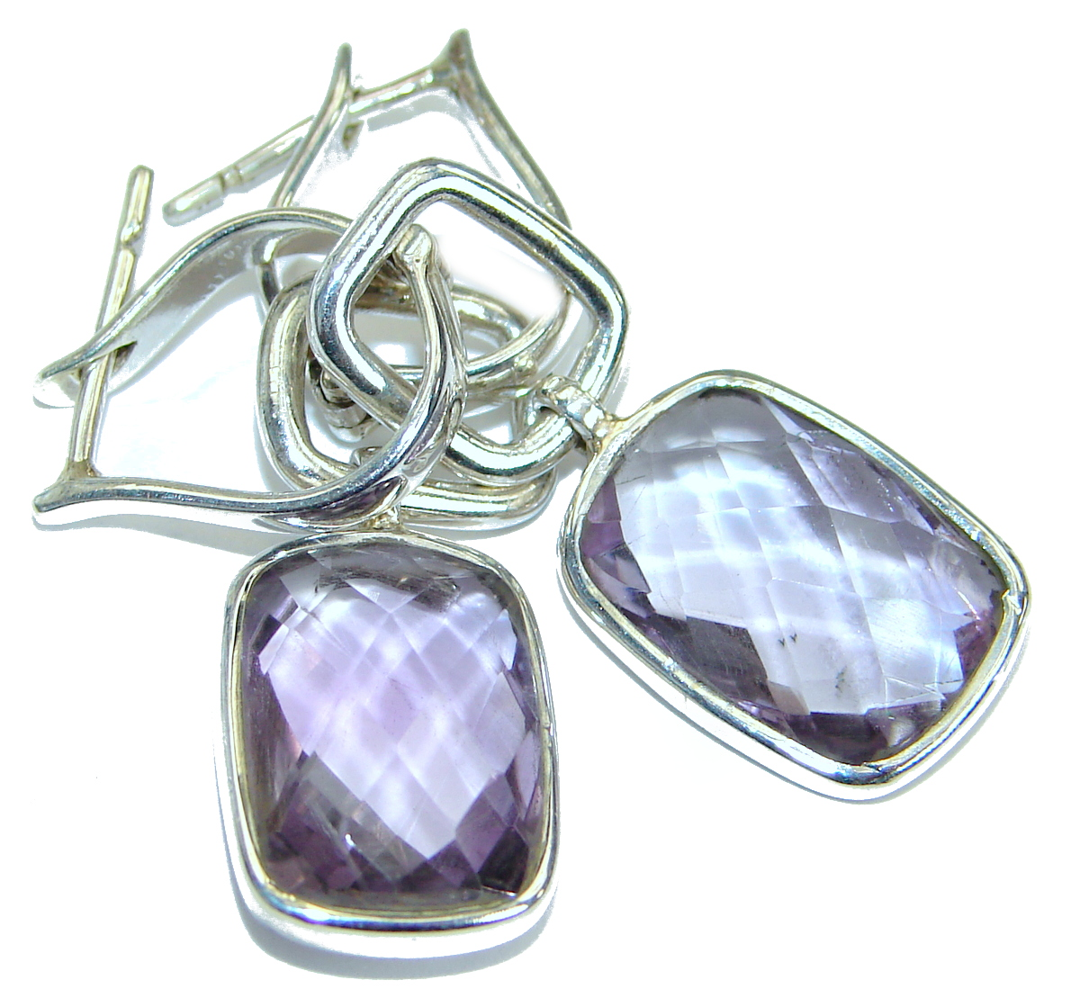 Genuine  Pink Amethyst   Oxidized .925 Sterling Silver