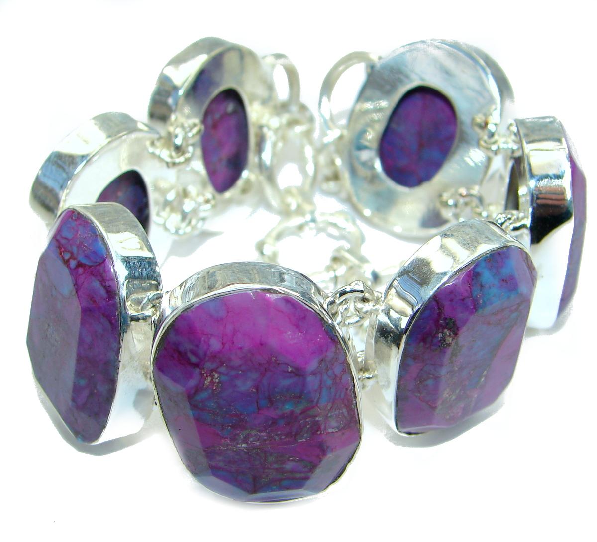 Huge Natural Purple Turquoise .925 Sterling Silver handmade Bracelet